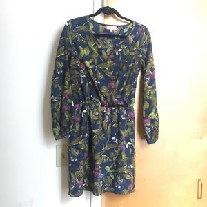 Best Society XS floral wrap dress long sleeves